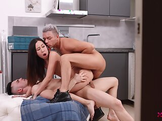 Fantastic Asian takes a double dose of hard cock