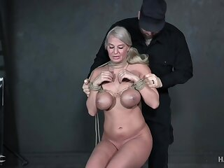Moaning busty blonde London River gets her wet pussy treated rough