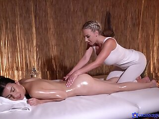 Aroused chicks combine the knead more softcore