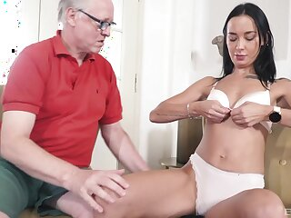 Venerable dude with a stiff dick fucks skinny brunette Freya Dee