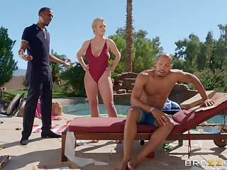 Full orgasms for the unsighted mature in a series of interracial threesome