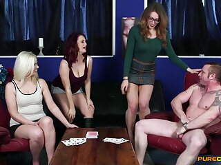 Clothed females share cock in charming CFNM shag