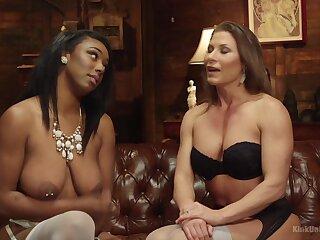Interracial lesbian sex between pornstars Ariel X with the addition of Lisa Tiffian