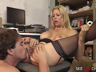 Provocative light-haired COUGAR is support c substance every chance to deepthroat cock and have sexual connection with a junior stud