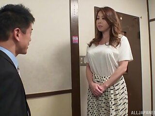 Lay bare busty Japanese get hitched treats mortal physically with a pretty big dong