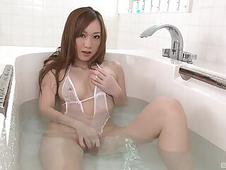 Amazing uncensored lingerie masturbation solo with Japanese knockout