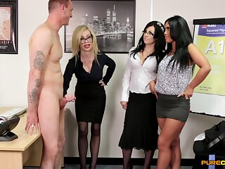 Chessie Kay and Hannah Shaw top off up to swell up a dick of their boss