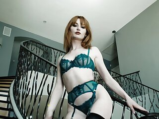 Small boobs redhead Lacy Lennon enjoys object fucked balls deep