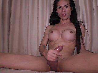 Big fake boobs amateur ladyboy handjob